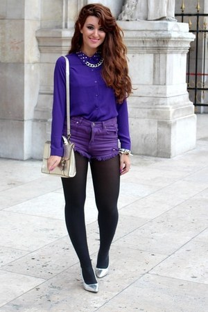 silver asos bag - amethyst Ebay US shorts - deep purple Forever21 blouse