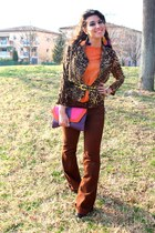 orange Zara top - burnt orange new look jacket - purple Primark bag