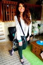dark brown London Rebel wedges - eggshell H&M blazer - green Zara pants
