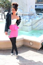 bubble gum asos dress - black jacket - silver H&M bag - silver new look heels