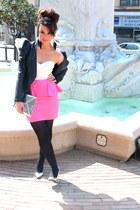 bubble gum asos dress - black jacket - silver H&M bag - silver new look heels