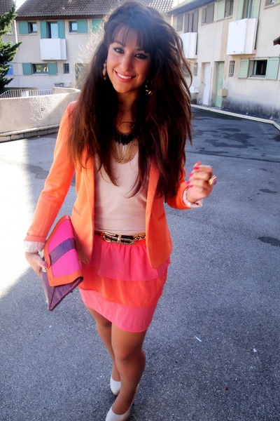 orange Zara blazer - salmon H&M skirt - neutral H&M top