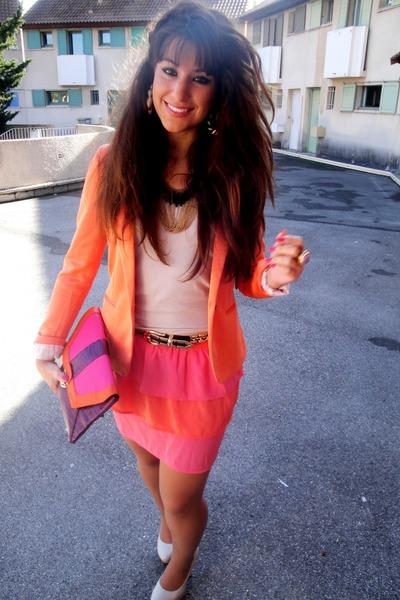 orange Zara blazer - salmon H&M skirt - neutral H&M top