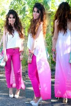 eggshell H&M top - lime green fame bag - hot pink camaieu pants