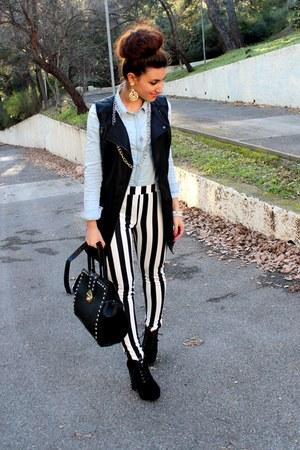black Boohoo boots - white Forever 21 leggings - sky blue H&M shirt