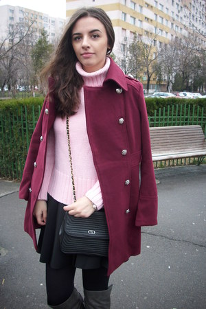 ruby red burgundy PERSUNMALL coat - light pink knit sweater - black bag