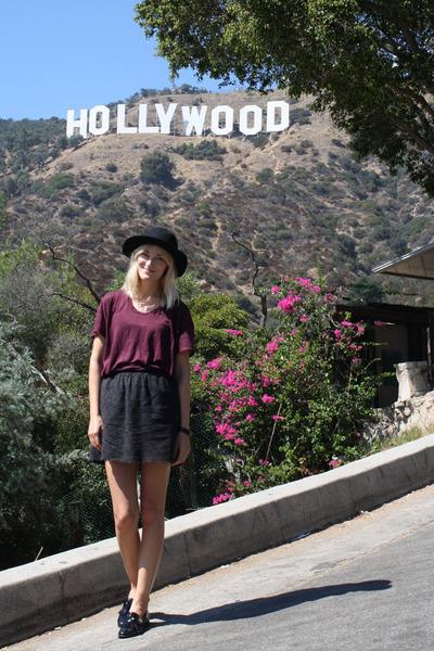 black Zara loafers - maroon acne top - navy JCrew skirt