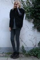 black lanvin shoes - dark gray weekday jeans - black Helmut Lang jacket