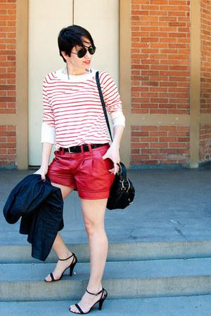 red c&a shorts - navy denim jacket Zara blazer - black Morango Bijoux bag