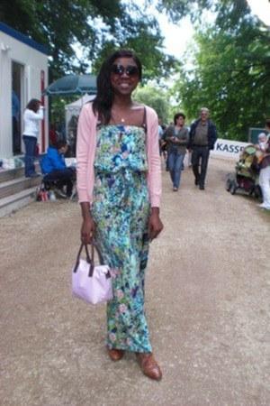 light pink H & M cardigan - teal next bodysuit