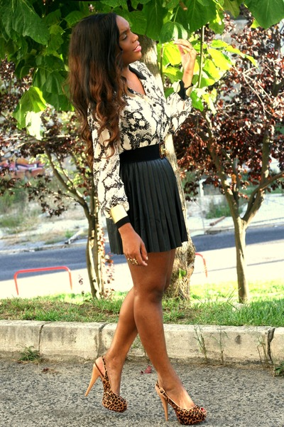 black Stradivarius skirt - brown Primark blouse - Schutz heels