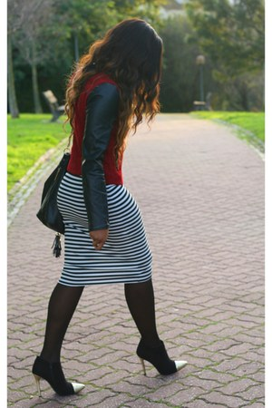 black Primark skirt - crimson Pull & Bear jacket