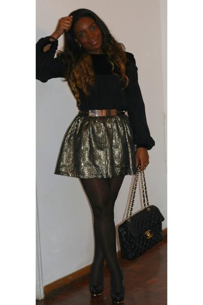 light yellow Topshop skirt - black Zara shoes - black Chanel bag