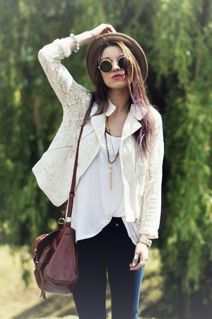 beige lace jacket - brown Internacionale hat - black round sunglasses
