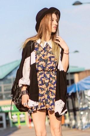 floral dress dress - black H&M hat - kimono StyleMoi cardigan