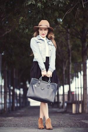 bronze Zara boots - bronze H&M hat - sky blue jacket - ivory River Island shirt