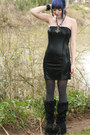 Black-fur-demonia-boots-black-tube-dress-estam-dress