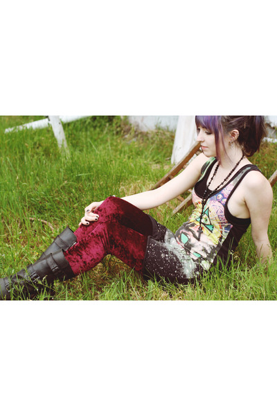velvet romwe leggings - DrMartens boots - Drop Dead Clothing dress