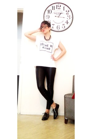 ivory Celine t-shirt - black Bershka pants - heather gray Migato loafers