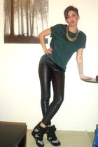 black Stradivarius leggings - teal Bershka t-shirt