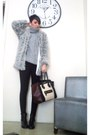Silver-h-m-coat-brown-celine-bag-black-zara-pants