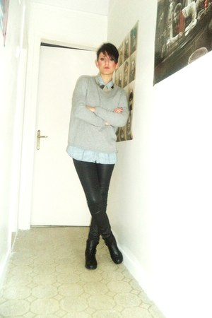 silver Zara blouse - light blue Stradivarius shirt - black Bershka pants