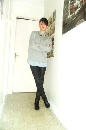 silver Zara blouse - light blue Stradivarius shirt - black Bershka pants