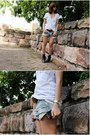 White-agent-ninety-nine-top-light-blue-scarletroom-shorts-dark-brown-vintage