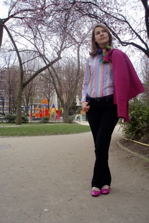 La Redoute jacket - vintage scarf - Coton Doux shirt - new look jeans - Repetto