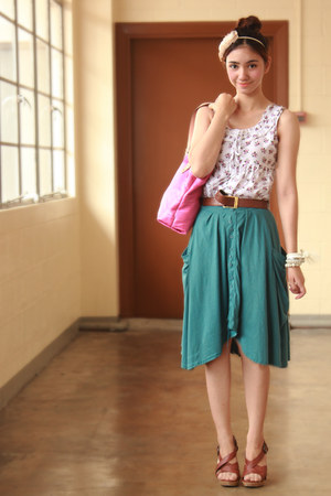 teal asymmetrical from landmark skirt - bubble gum kate spade bag