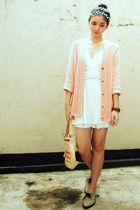 pink cardigan - beige oxfords shoes - white top - white tunic top - accessories