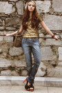 Loose-shio-jeans-gold-sequined-h-m-top-gold-headpiece-diy-accessories
