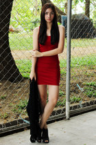 red bodycon Forever 21 dress - black booties Figlia shoes