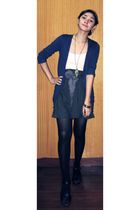 blue cardigan - gray American Apparel skirt - gray scarf - gold accessories - bl