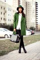 black Jeffrey Campbell boots - green Zara coat - green Park Bravo hat