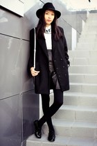 black H&M boots - black Stradivarius coat - black Topshop hat - white H&M shirt