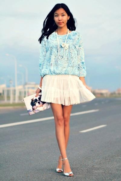 aquamarine Zara shirt - periwinkle Zara sandals