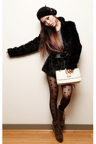 black dotted asos tights - dark khaki JustFab boots - black fur H&M coat