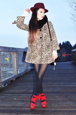 red chiffon EMODA wedges - light brown leopard H&amp;M coat