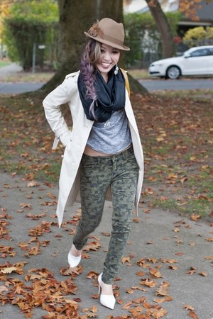 dark green camo nowIStyle pants - camel felt fedora Forever 21 hat