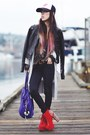 Black-biker-flying-tomato-jacket-red-spike-litas-jeffrey-campbell-shoes