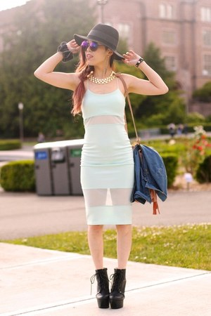 black platform Charlotte Russe boots - aquamarine midi Missguided dress