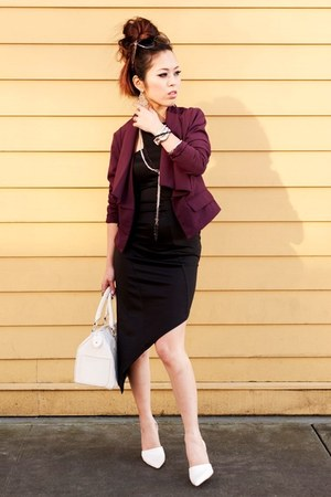 black asymmetrical Charlotte Russe dress - maroon cropped Forever 21 jacket