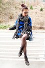 Black-studded-justfab-boots-blue-nowistyle-sweater
