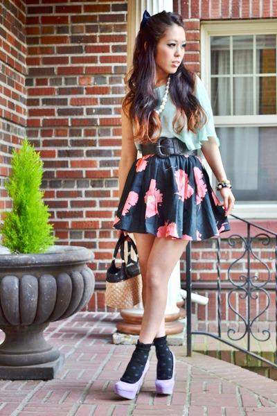 light blue sheer Topshop top - bubble gum flowered print thrifted skirt