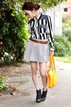 white striped shirt Forever 21 top - black Quipid boots - yellow Aldo bag