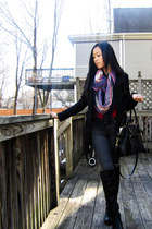 Aldo boots - H&M jeans - H&M jacket - H&M scarf - Cole Haan purse - thrifted bel