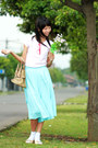 Light-blue-mint-alofely-skirt-bubble-gum-plain-mng-shirt