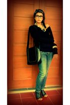 black ribbon sweater - Guess jeans - JD shoes - littleindia necklace - rayban gl