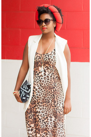 red African store hair accessory - black shoemint boots - brown H&M dress